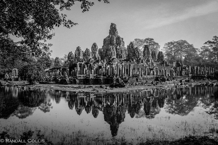 Reflection of Bayon Raw B&W