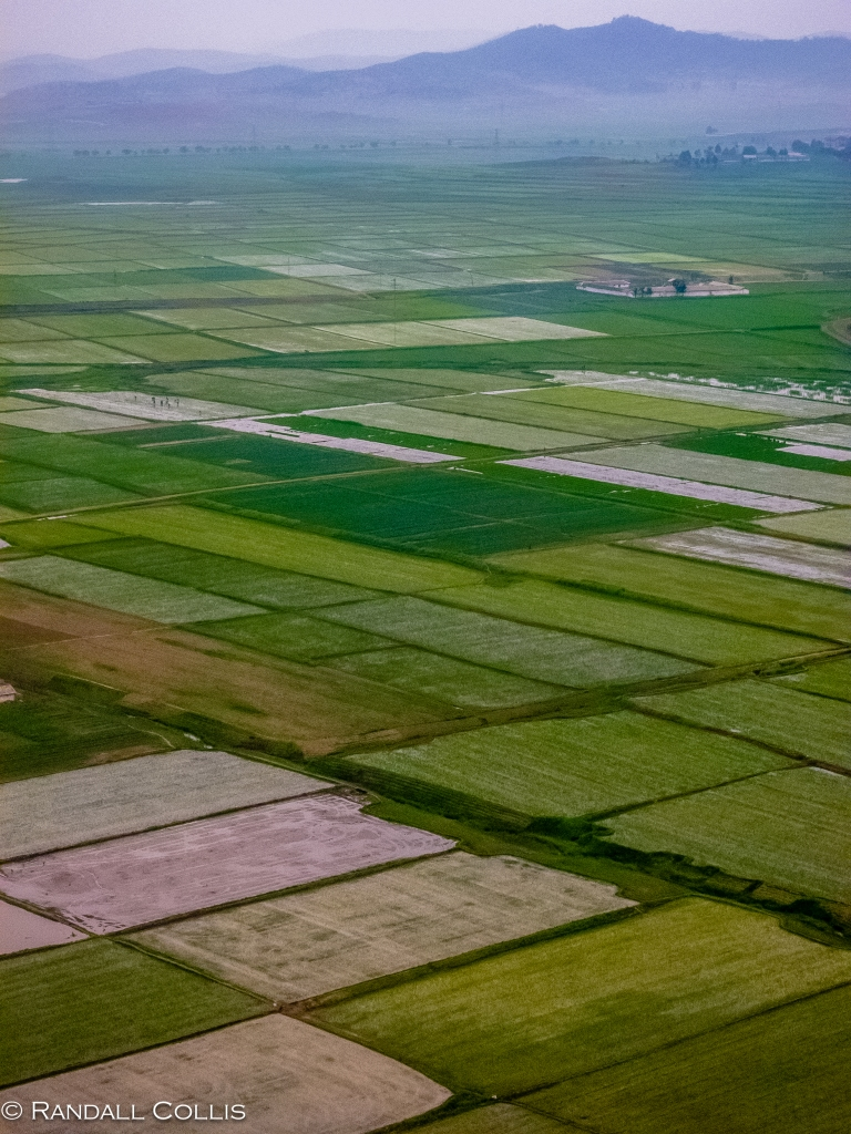 Pyongyang Countryside Green out Plane Window